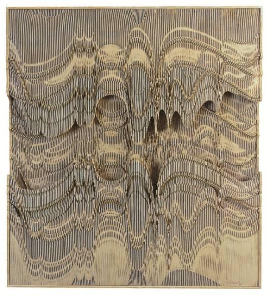 Em Relevo Progressivo (1970), o artista traz a sensação de movimento a quadros estáticos