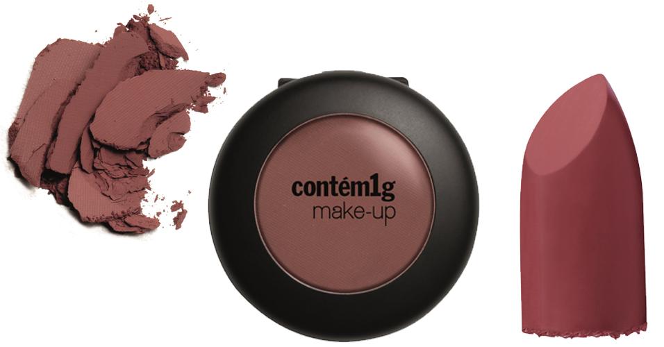 Sombra Compacta e batom, da Contém 1G.  - Marilyn Opaco - R$ 38 e Batom Mate - Cranberry - R$ 38. SAC: http://www.contem1gmakeup.com.br