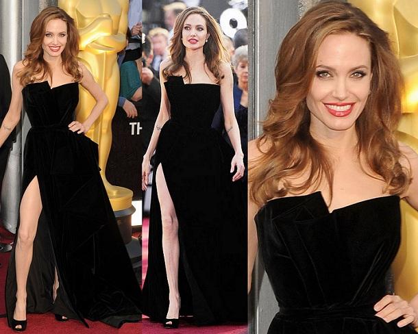Angelina Jolie veste Atelier Versace no Oscar de 2012 (Foto: Reprodução)