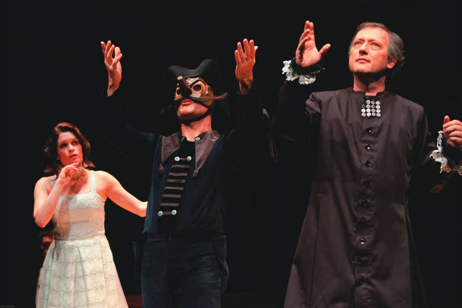 Maria Stella Tobar, Julio Machado, Lavínia Pannunzio, Paulo Marcello e Gonzaga Pedrosa: comédia A Ilusão Cômica