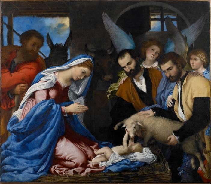 Lorenzo Lotto: Adorazione dei pastori, 1525-1535, óleo sobre tela