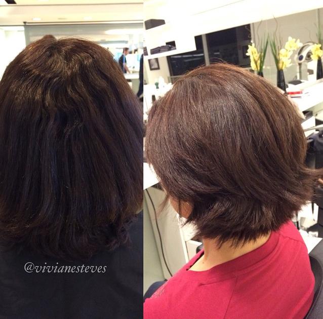 Antes e depois do alisamento com laser (Foto: Reprodução/Instagram)