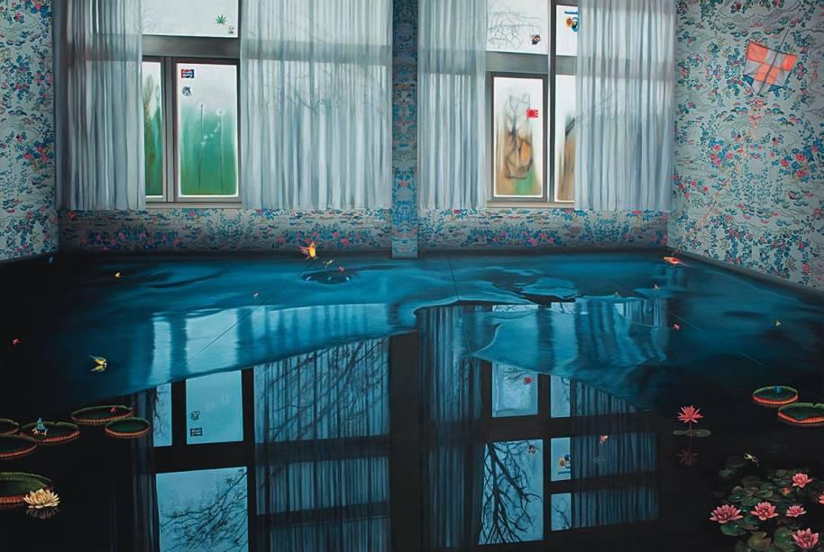 O óleo Poça, de Ana Elisa Egreja: diálogo direto com a fotografia