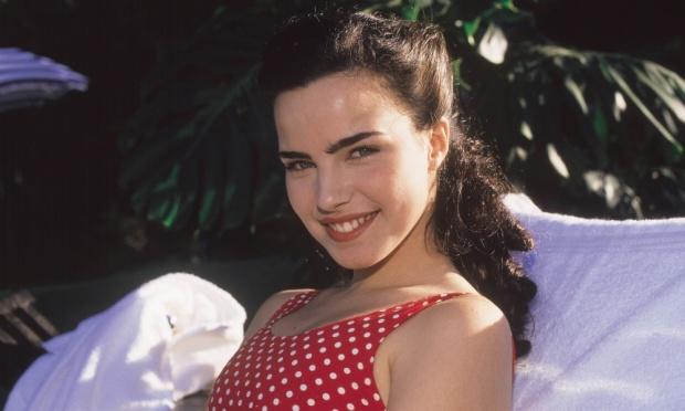 Ana Paula durante as gravações da novela Éramos Seis, em 1996