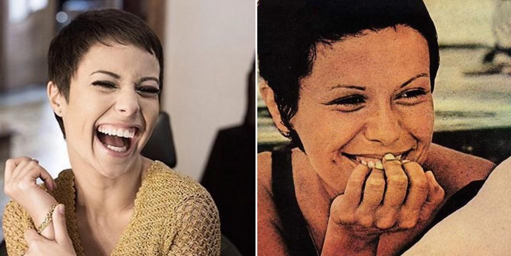 A atriz Andreia Horta já com o novo visual e a cantora Elis Regina (Foto: Reprodução/Instagram)