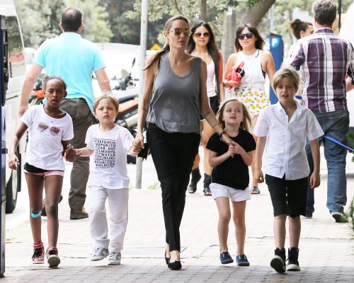 Angelina Jolie passeia com Zahara, Shiloh, Knox e Vivienne
