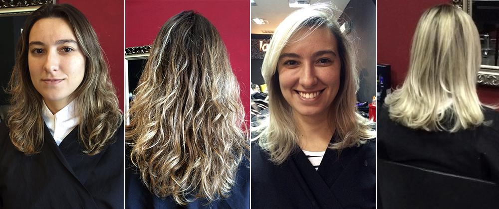O antes e depois da Juliene: cabelos muito claros (em tom platinado) com apenas uma descoloração