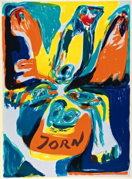 Litografia de 1970 incluída na mostra: o artista ajudou a fundar o grupo CoBrA