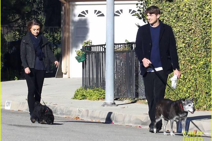 Semi-Exclusive… Ashton Kutcher & Mila Kunis Take Their Dogs For A Walk