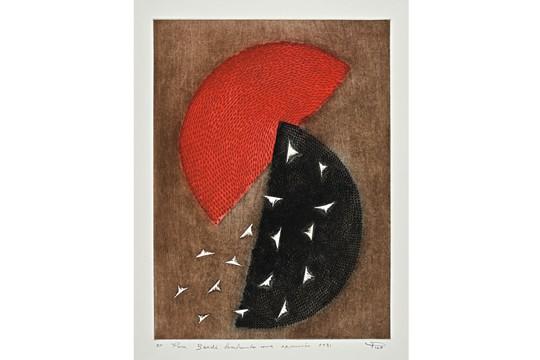 Composição em Vermelho e Preto, de Arthur Luiz Piza: obra integra Papéis Brasileiros — Gravuras da Coleção Masp