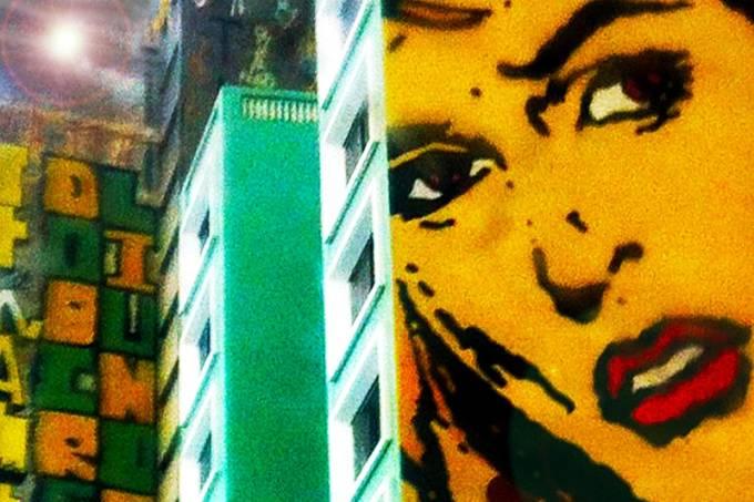 Olhar pela janela, outdoor na Av. Tiradentes Foto Ivan Dias