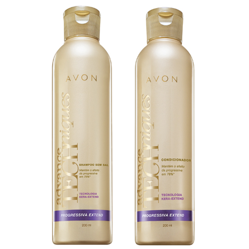Progressiva Extend Advance Techniques, da Avon. Xampu e condicionador especial para manter os efeitos de escovas progressivas. Preço sugerido: R$ 8,99 (xampu) e R$ 9,99 (condicionador). SAC: 0800-7082866