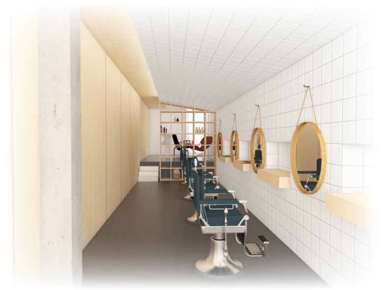 Vista em 3D da barbearia: espaço é inaugurado nesta terça (5)