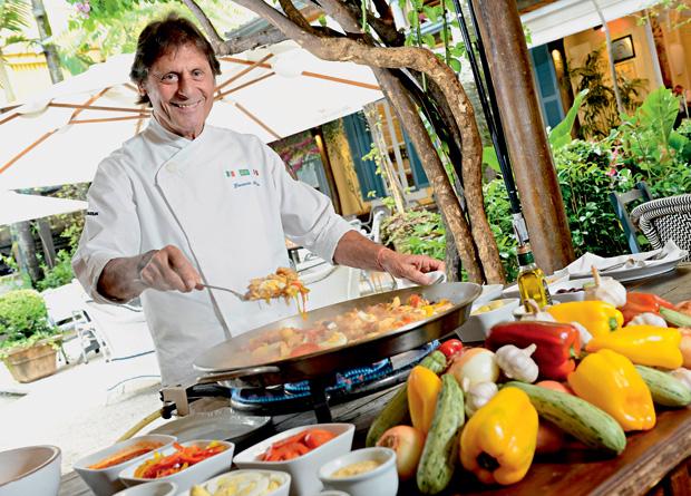 Giancarlo Bolla, do Bar des Arts: o bacalhau com pimentões