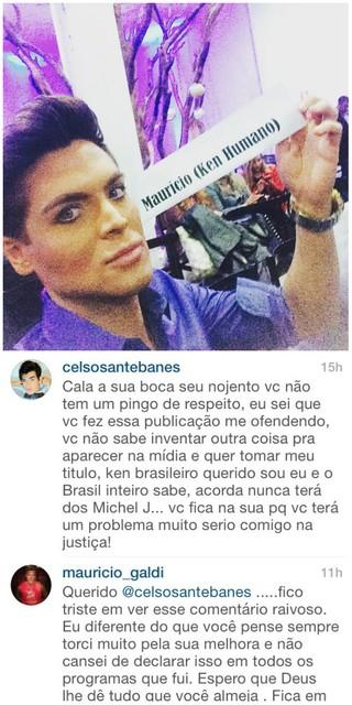 As acusações começaram da parte de Santebanes, que foi no Instagram de Maurício atacá-lo (Foto: Reprodução/Instagram)