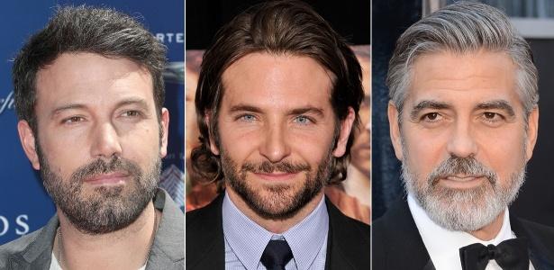 Ben Affleck, Bradley Cooper e George Clooney exibem barba bem cuidada