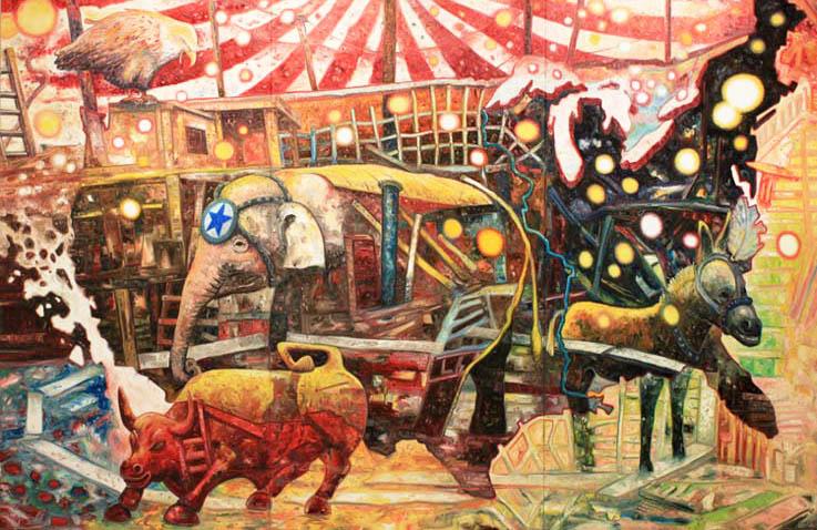 """Big Circus (2011): Na criação, Oiwa expressa a repulsa de muitos americanos às instituições do país, que se transformaram em um """"circo"""""""