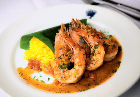 Bistrot Bagatelle: camarão à provençal com arroz de jasmim (Foto: Lucas Lima)