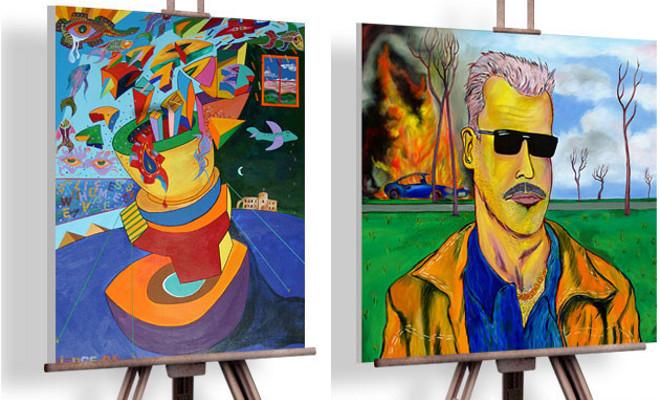 O ex-007 Pierce Brosnan diz que seu estilo é em homenagem a Matisse e Kandinski, mas acho bem pop, incluindo a tela do autorretrato