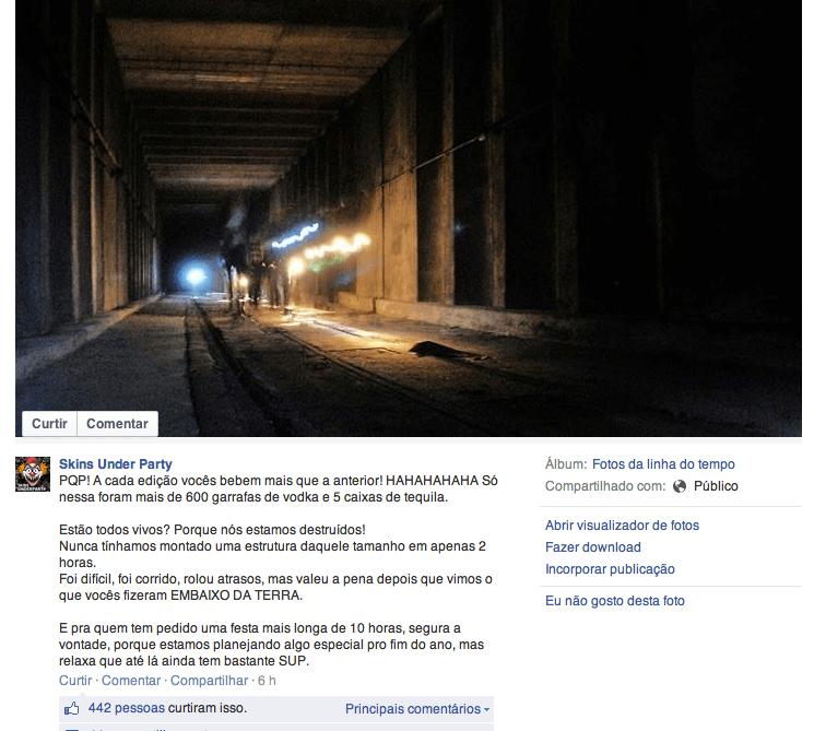 Postagem em página oficial da festa Skins Under Party, realizada em túnel da Roosevelt