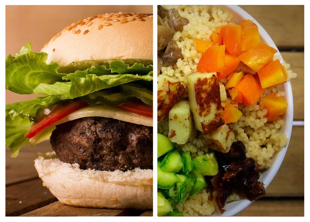 Hambúrguer ou salada, eis a difícil escolha.
