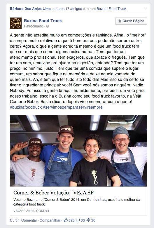 Campanha pelo Facebook do Buzina Food Truck