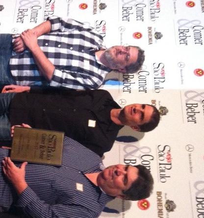 """O então trio de sócios durante a premiação do """"Comer & Beber"""" em 2012 (Foto: arquivo pessoal)"""
