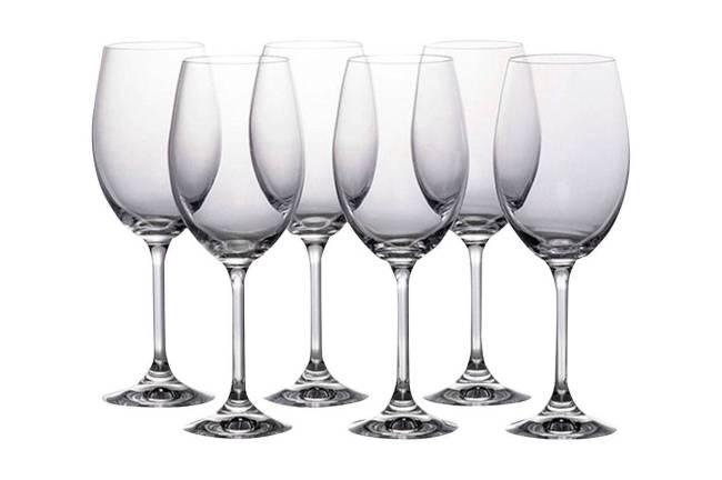 Conjunto de seis taças de vinho de cristal ecológico