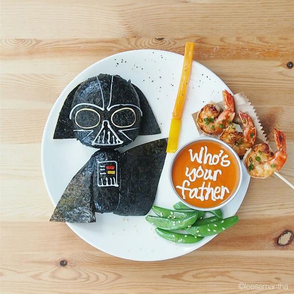(Vilão de Guerra nas Estrelas ficou fofo nessa versão de art food. Foto: reprodução/Instagram)