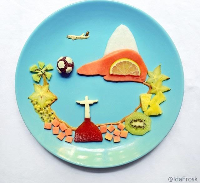 Sobremesa que ela fez com frutas e os cartões postais do Rio durante a Copa. Foto: reprodução/Instagram