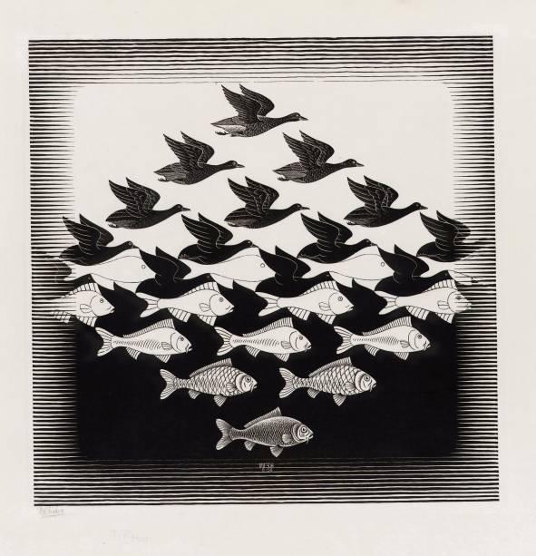 Xilogravura: Céu e Água I, de 1938