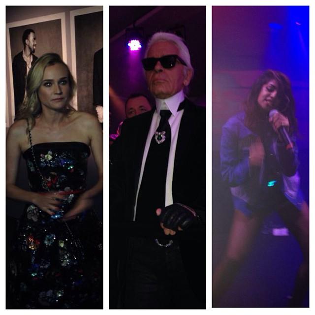 Diane Krueger (esq.) e Karl Lagerfeld (centro) estiveram presentes na festa, que teve show da cantora M.I.A. (dir.) (Foto: Ricky Hiraoka)