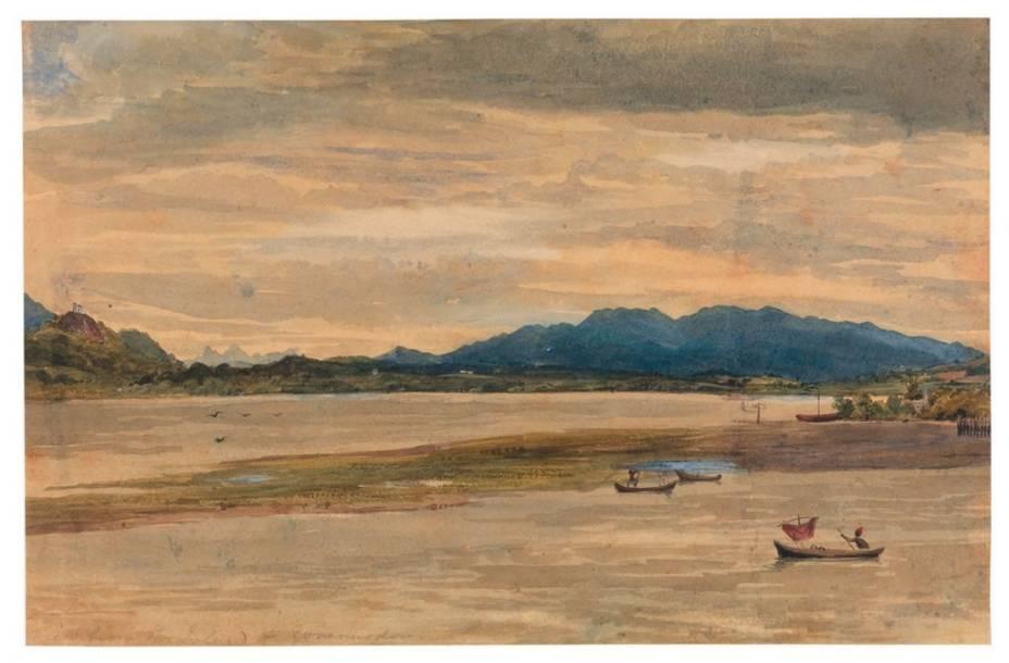 Vista da Ilha do Governador, no Rio, por Landseer: desenhos confiscados após missão