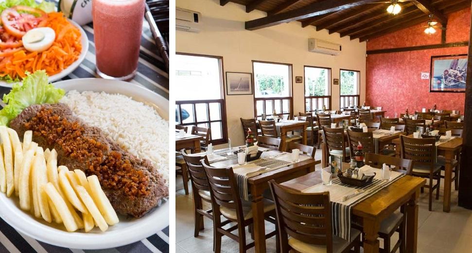 Cheiro Verde: o PF de contrafilé ao alho com batata frita, arroz e salada e o ambiente simples (Foto: Romero Cruz)