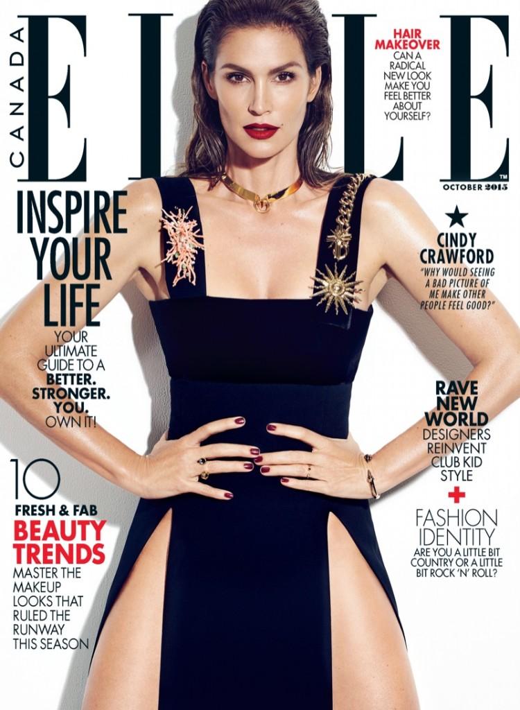 A modelo na capa de outubro da edição canadense da Elle
