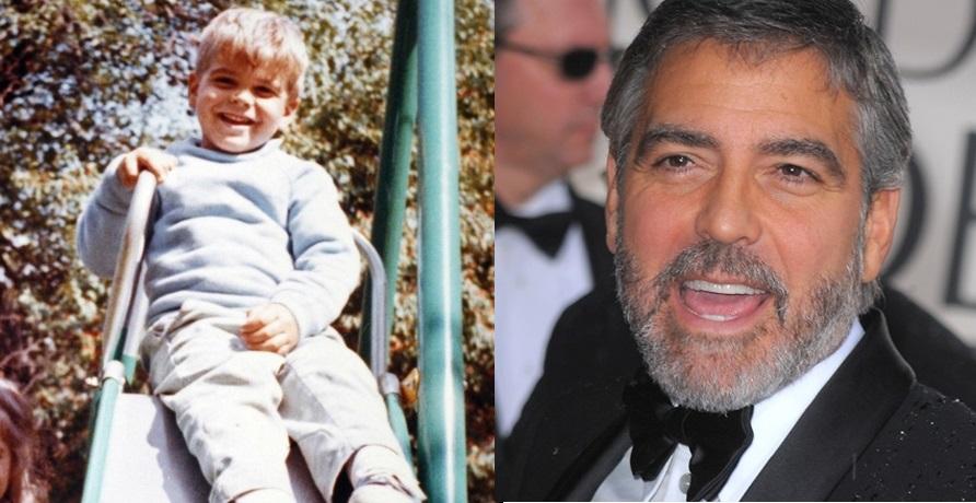 George Clooney já fazia carinha de sapeca no escorregador