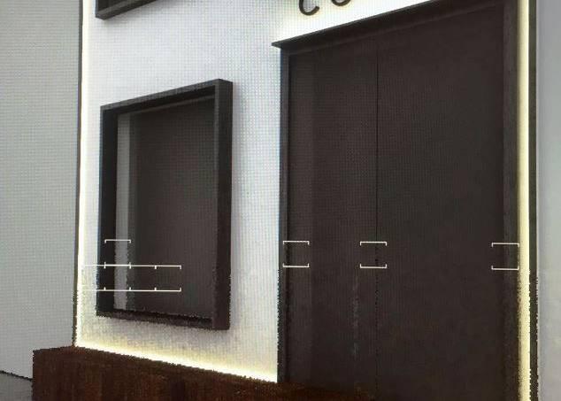 Detalhe da fachada do Cocina Bar Y Vino: sobriedade (Arquitetura: Diego Rolim)
