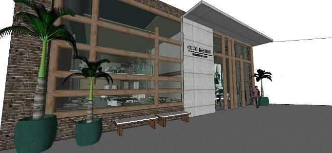 Projeto da fachada do Coco Bambu: espaço grandioso para 550 lugares (Porjeto: Brenda Rolim)