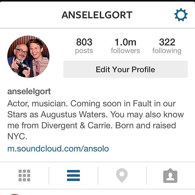 Dia 5 de junho, Ansel comemorou 1 milhão de seguidores no Twitter