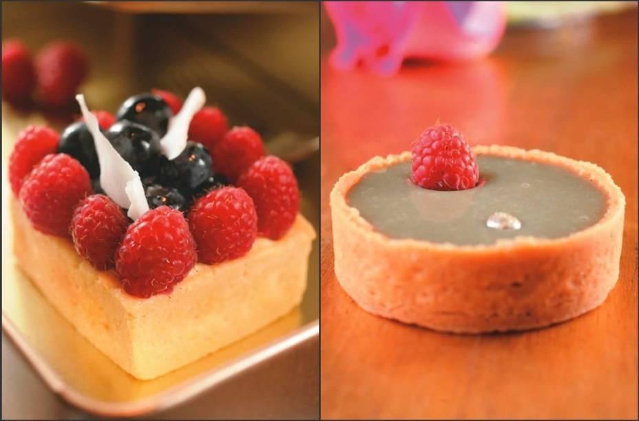 Duas tortas tentadoras: frutas vermelhas e pistache