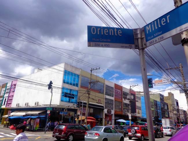 Cruzamento - ruas Oriente e Miller
