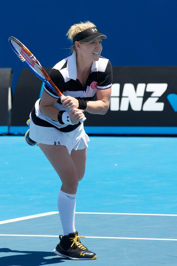 American Bethanie Mattek-Sands competes alongside compatriot Meghann Shaughnessy in the Women's Doubles division at the 2011 Australian Open