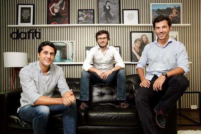 Thibaud Lecuyer, Malte Huffmann e Philipp Povel, socios da Dafiti, que tera uma loja temporaria na Oscar Freire (Foto: Fernando Moraes)