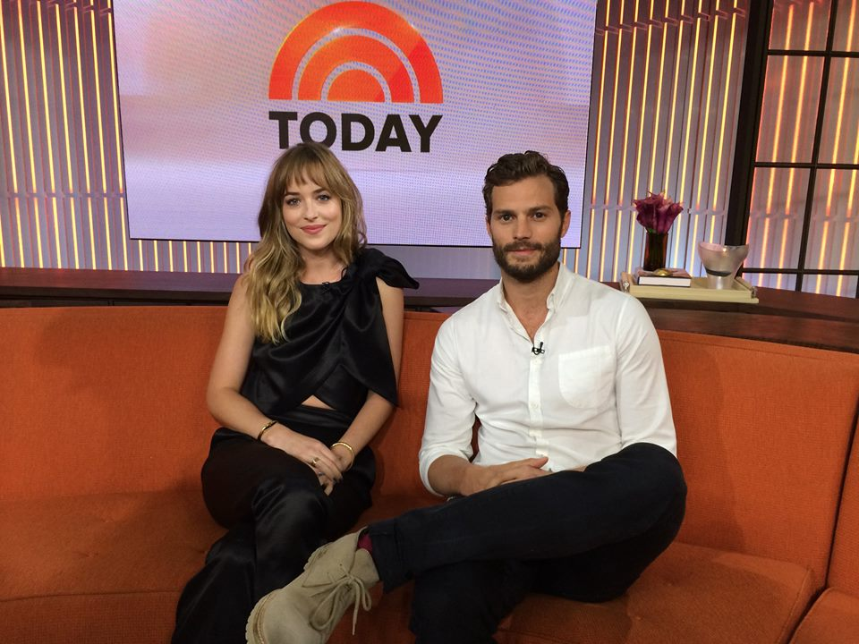 Dakota Johnson e Jamie Dornan no programa de TV Today Show
