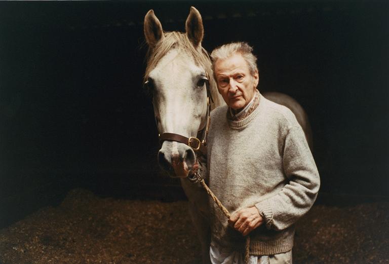 Outra fotografia de Dawson: Lucian Freud com Cavalo Cinza