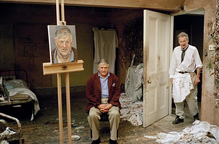 Lucian Freud com David Hockney, também pelas lentes de Dawson