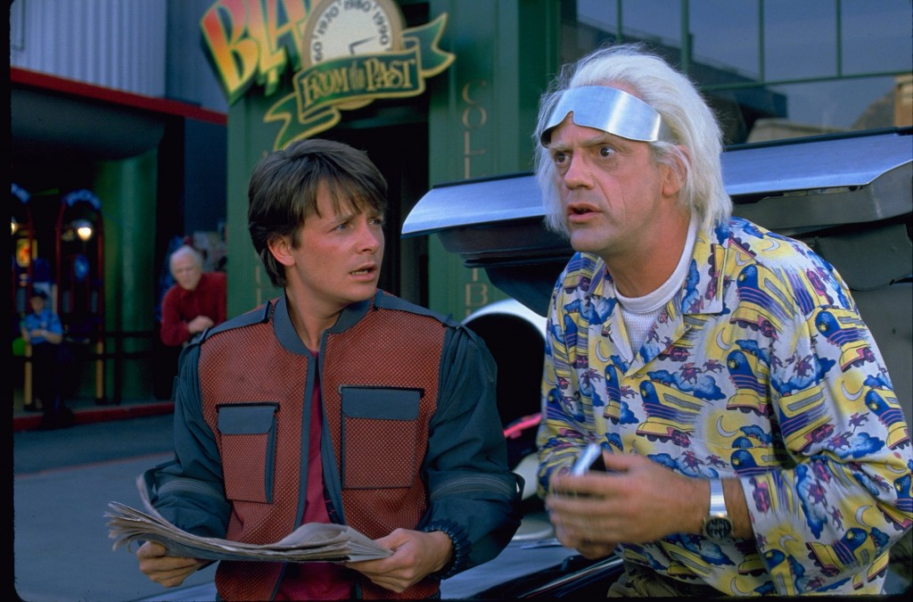 "In the 1989 film ""Back to the Future II,"" Marty McFly traveled to Oct. 21, 2015, a future with flying cars, auto-drying clothes and shoes that lace automatically."