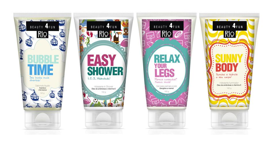 Dermage: a linha Beauty 4 fun RIO é composta por creme hidratante, sabonete, gel para pernas e pés e iluminador.