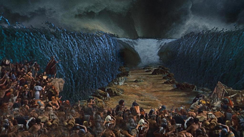 A abertura do Mar Vermelho em Os Dez Mandamentos