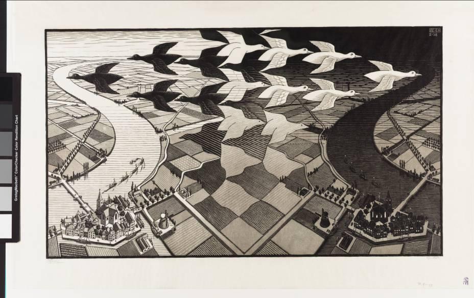 Dia e Noite, de 1938: uma das obras do holandês Maurits Cornelis Escher (1898-1972)